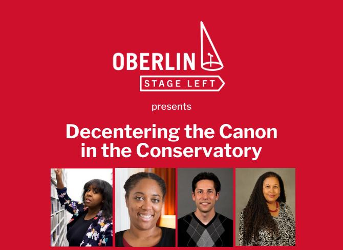 Oberlin Stage Left logo in red box