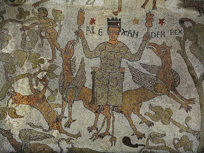 12th c. Mosaic from the Otranto Cathedral showing Alexander sitting on two griffins.