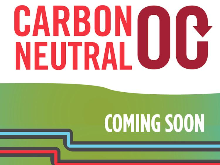 Carbon Neutral OC logo with coming soon text and cold and hot water pipes underground