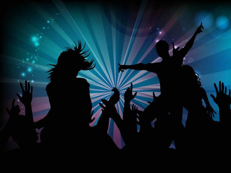 Silhouettes of people dancing on a blue and pink background.