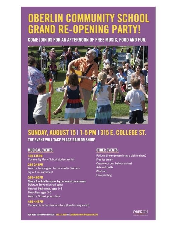 Oberlin Community Music School Re-opening Party.