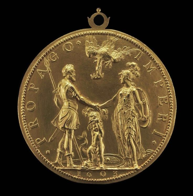 Guillaume Dupré  Louis XIII as Dauphin between Henri IV as Mars and Marie as Pallas Athena [reverse], 1603  Samuel H. Kress Collection, National Gallery of Art, Washington, D.C.  1957.14.1151.b