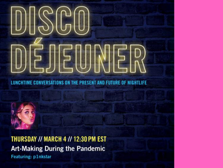 Neon lights spelling Disco Déjeuner against a blue brick background over a pink-tinted photo of a femme person with a moustache.