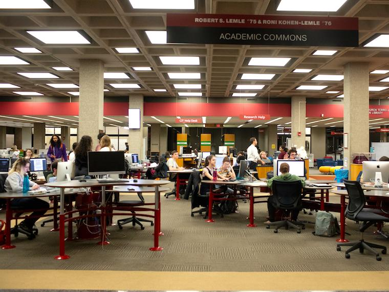 students study in main library commons area.