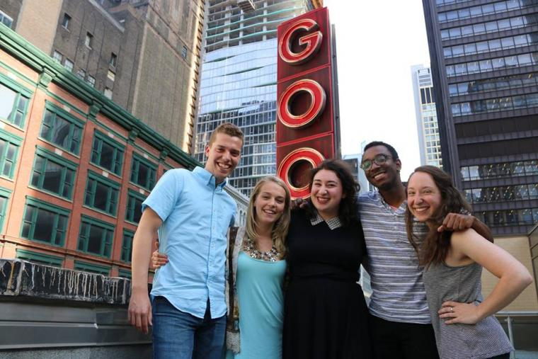 Anna Gelman '16 (center) poses with fellow interns