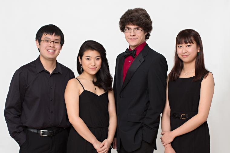 Winners of the 2014 Concerto Competition: San Jittakarn, Marika Yasuda, Jesse McCandless, and Yihui Liu