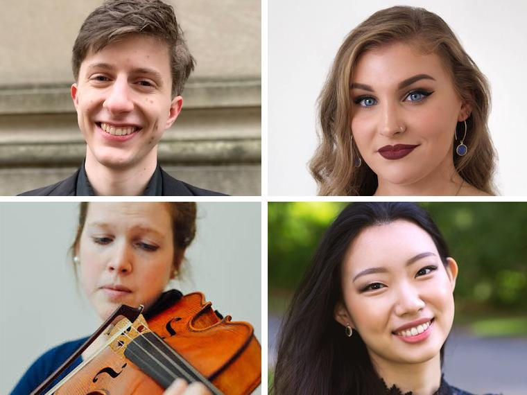 four winners of the 2019-20 Senior Concerto Competition.