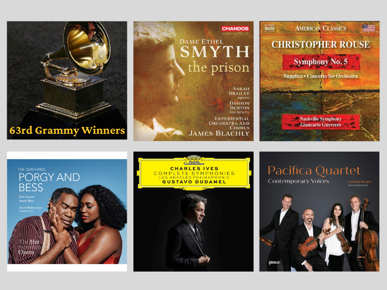 Five Grammy-winning album covers that feature the performances of Oberlin alumni.