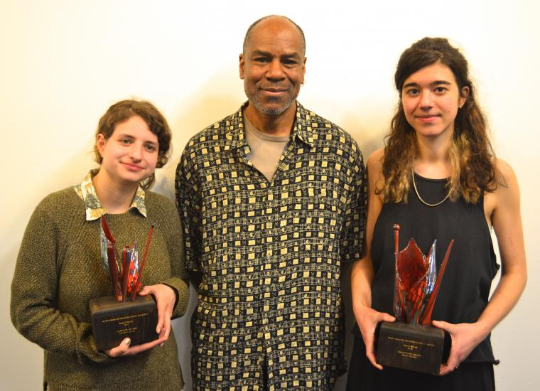 Two Excellence in Visual Arts award recipients with Professor Johnny Coleman