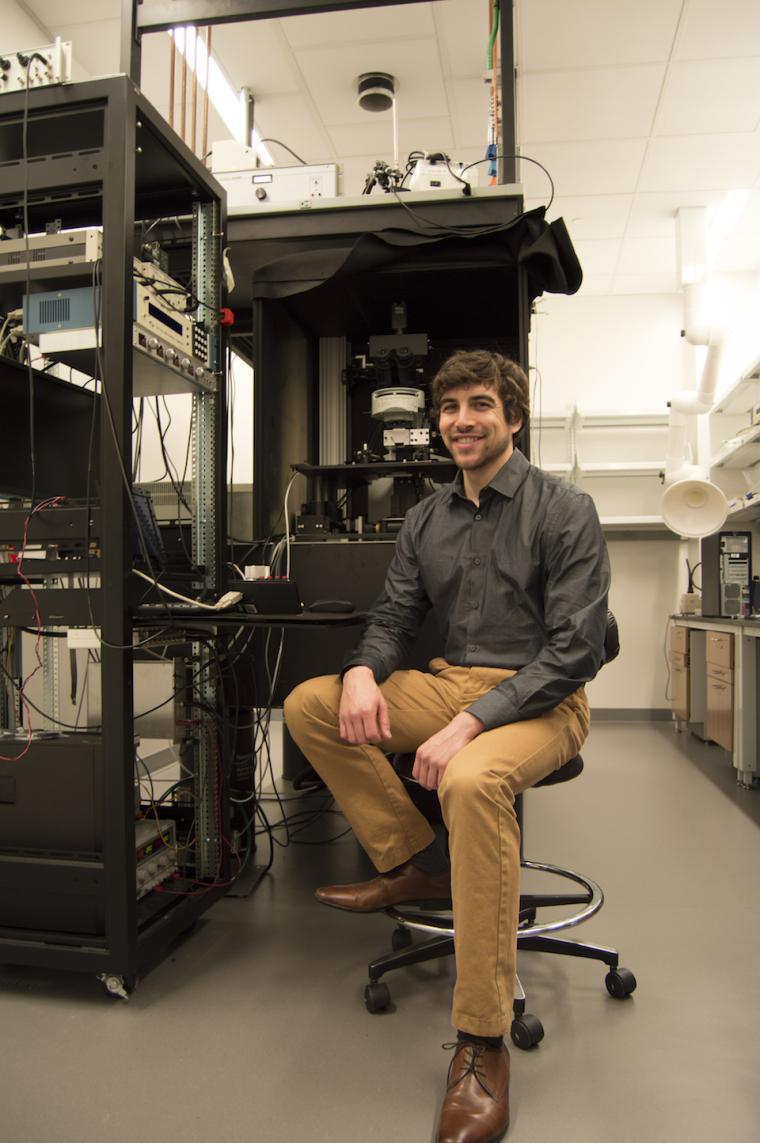 Lab with electronic equipment on metal racks