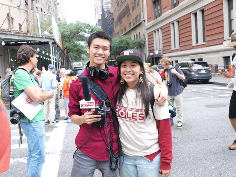 Angus Chen '13 posed while reporting for WNYC Public Radio