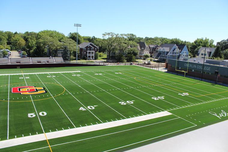 Aerial shot of football field. Photo.