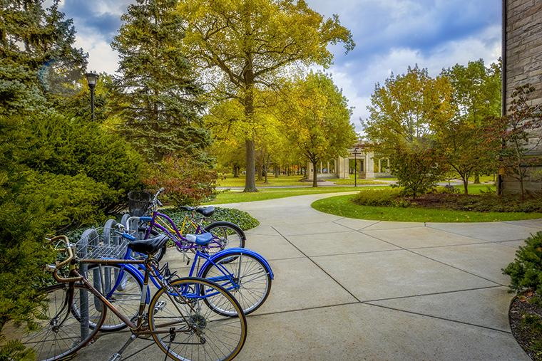 Bikes outside Peters hall