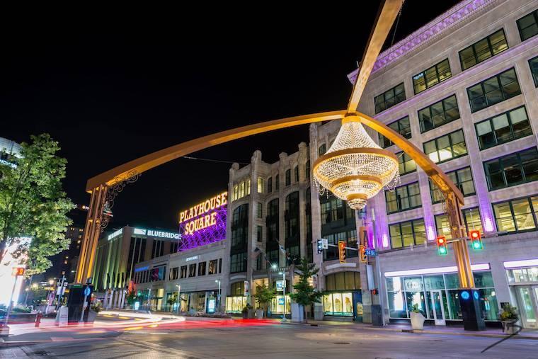 Playhouse Square at night.
