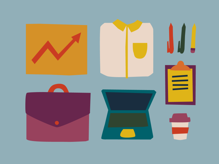 Business tools (briefcase, laptop, etc.) Illustration.