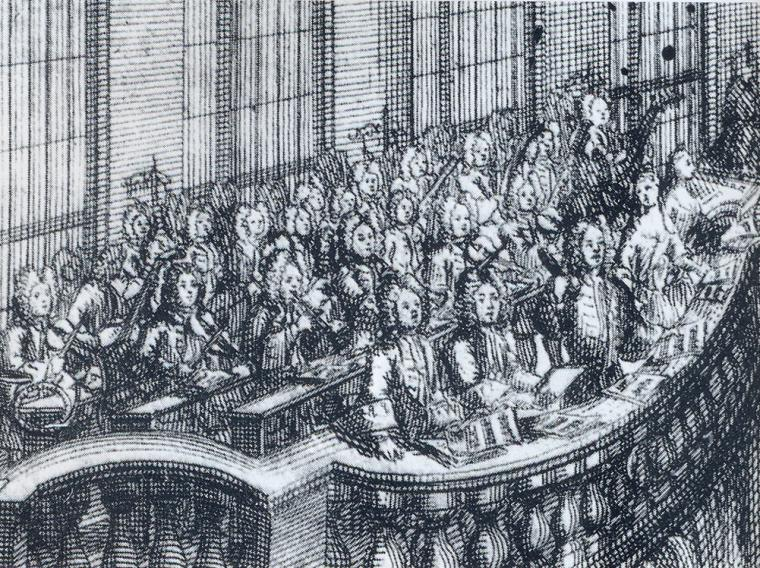 pen and ink illustration of early music singers