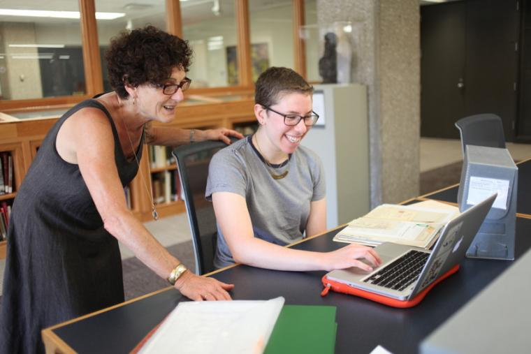 Professor of History Carol Lasser works with junior history major Natalia Shevin
