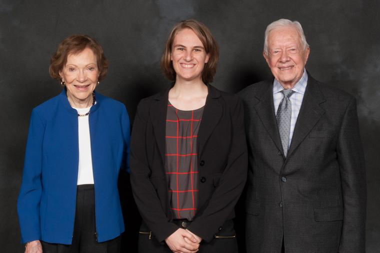 Sarah Cole '14 posed with former President Jimmy Carter and his wife, Rosalynn