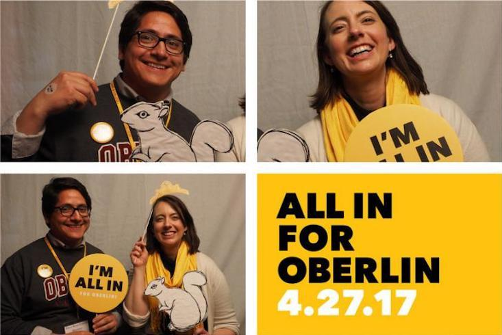 People celebrating with All In for Oberlin gear.