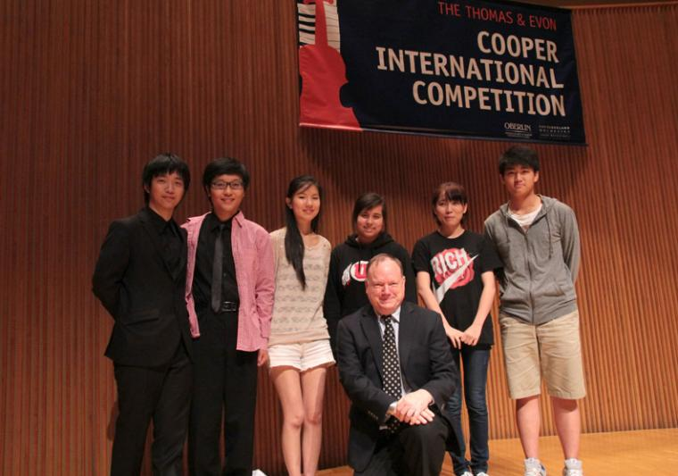 Kyumin Park, Jieming Tang, Angela Wee, Gallia Kastner, Ming Liu, and Ching-Yi Wei pose with Cooper director and jury chair Gregory Fulkerson