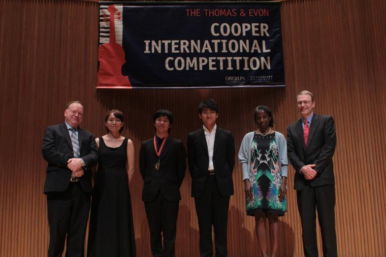 Gregory Fulkerson, Ming Liu, Ching-Yi Wei, Kyumin Park, Evon Cooper, and Thomas Cooper at the Cooper International Competition