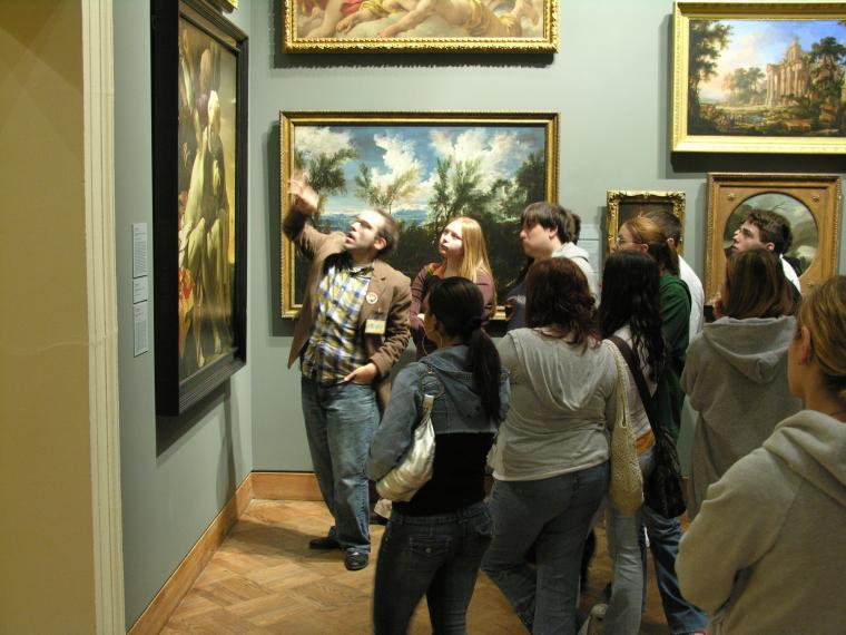 Students looking at art at the Allen