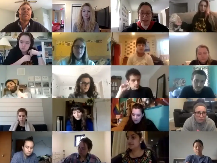 students in a Zoom meeting screenshot.