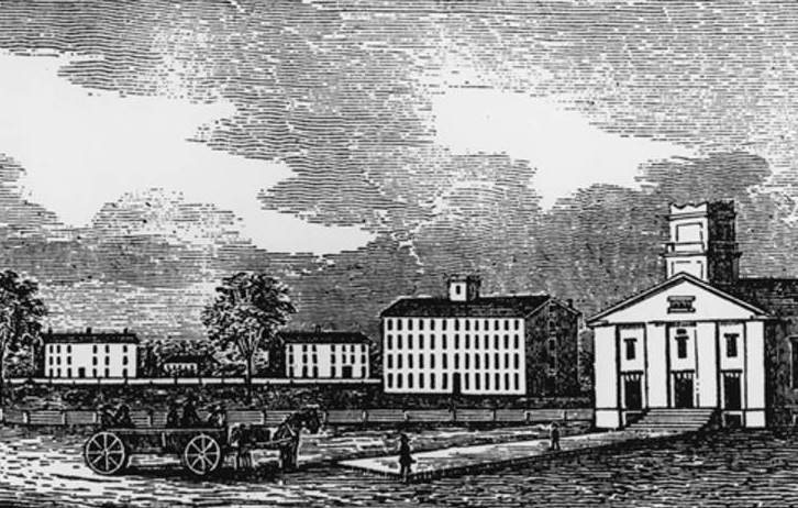 This wood engraving, made in 1846 from a drawing by Henry Howe, depicts West College Street in Oberlin.