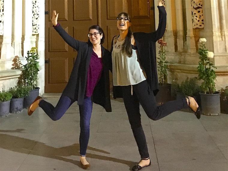 Two women posing