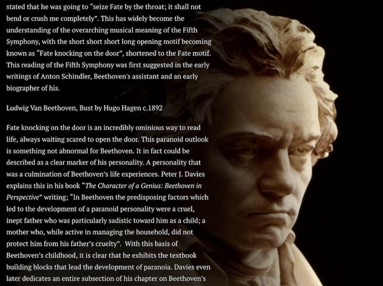 text overlaid next to a sculpture of Beethoven's head