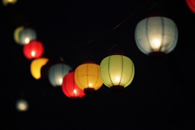 A string of colorful lanterns.