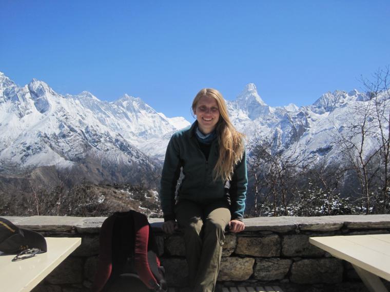 Elizabeth Gilmour '13 at Mt. Everest base camp