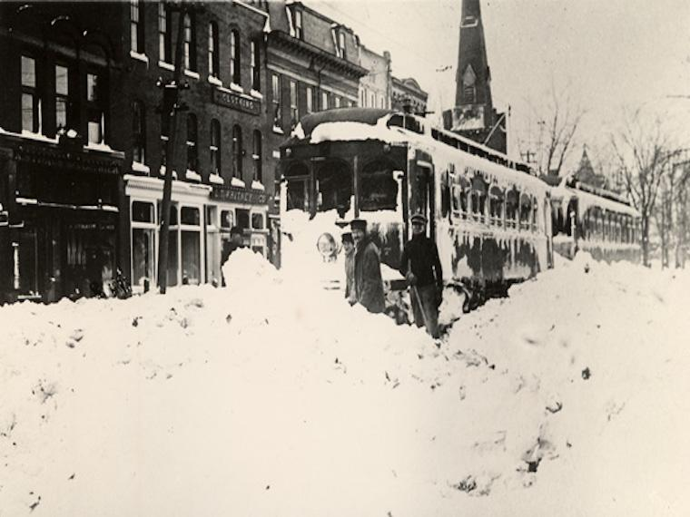 A streetcar stuck in the snow in downtown Oberlin.
