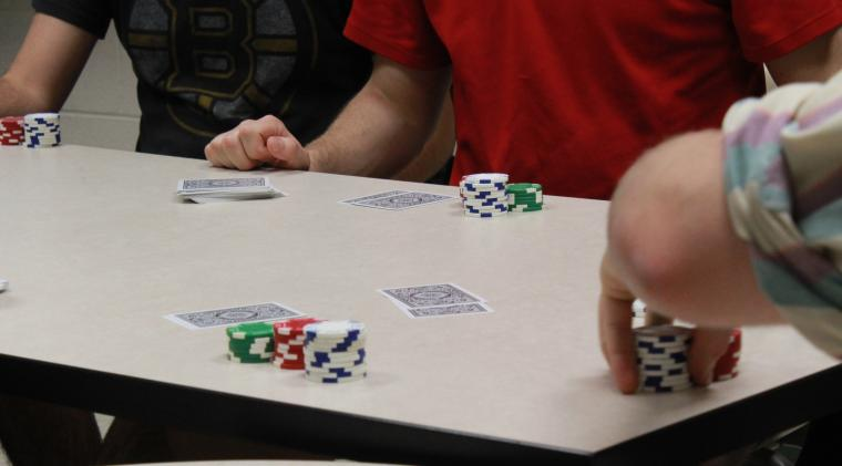 Students play poker