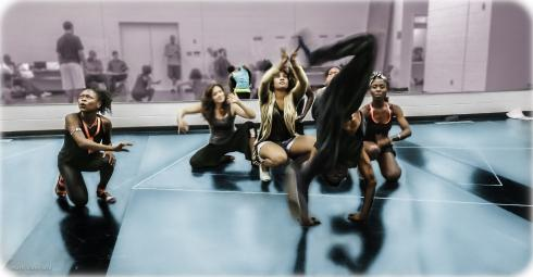 """Actors, including Daisy Peele '13 (center), rehearse a scene from """"A Midsummer Night's Dream."""""""