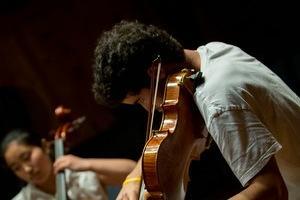 Julian Sawhill playing violin