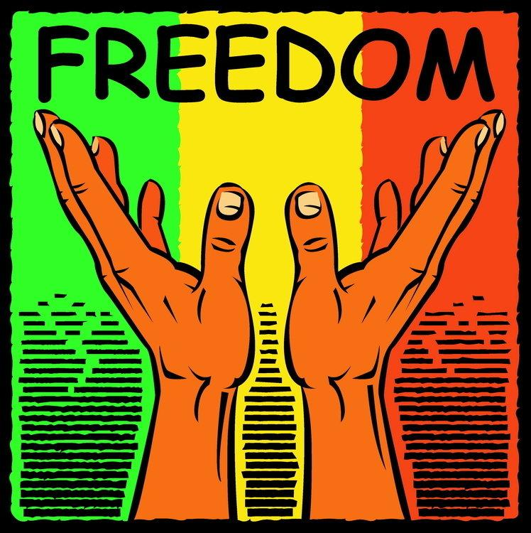 "Graphic of hands reaching towards the word ""freedom"""