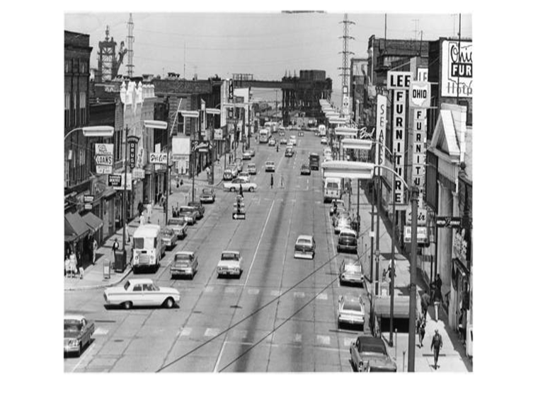 Black and white photograph of downtown Lorain, Ohio, taken in 1964.