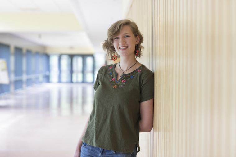 Marie Lilly '17 posed in Science Center