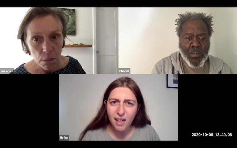 Three people in screenshot of Zoom meeting