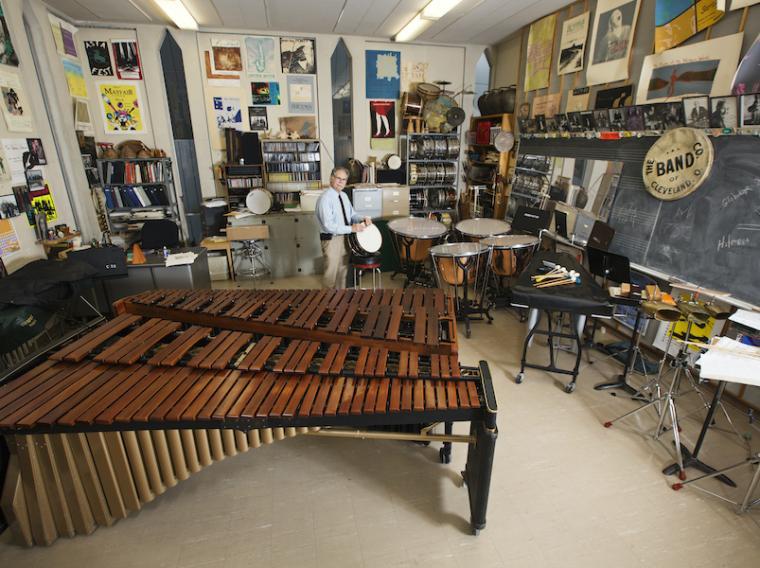 Michael Rosen in his percussion studio.