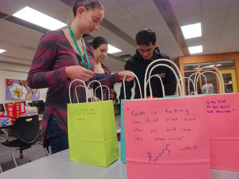 Ninde Scholars assemble gift bags for high school teachers and to spruce up elementary classrooms