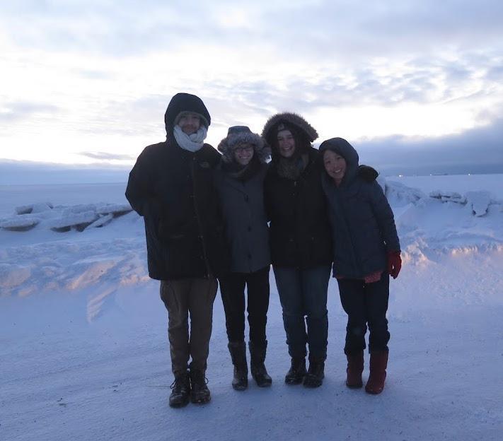 students with professor at Point Barrow, Alaska