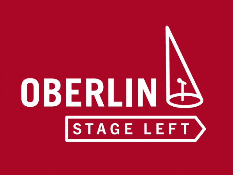 Welcome to Oberlin Stage Left red sign with white letters.