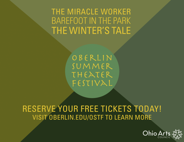 Oberlin Summer Theater Festival graphic lists The Miracle Worker, Barefoot in the Park, and The Winter's Tale.