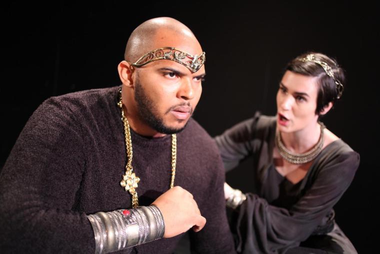 two actors dressed in Shakespearean attire