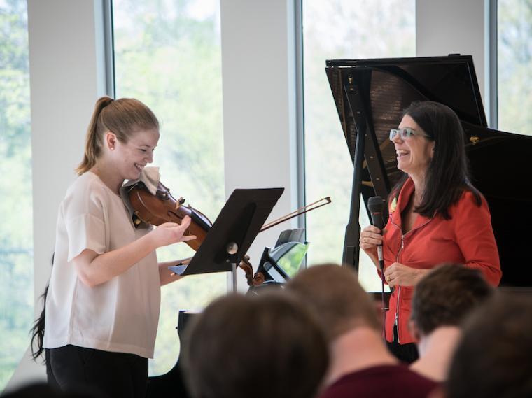 Student violinist works with Pamela Frank.