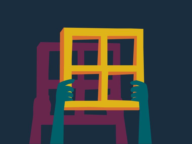Hands holding up window frames. Illustration.