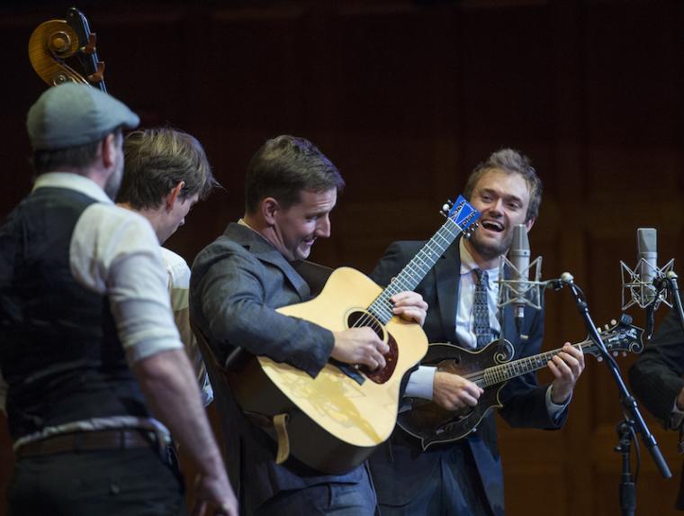 bluegrass musicians on stage.