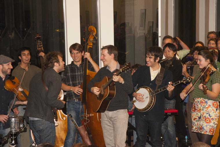 The Punch Brothers joined students—and members of the Cleveland Orchestra—in a jam session in the Conservatory Lounge